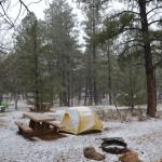 A neve no camping no Grand Canyon.